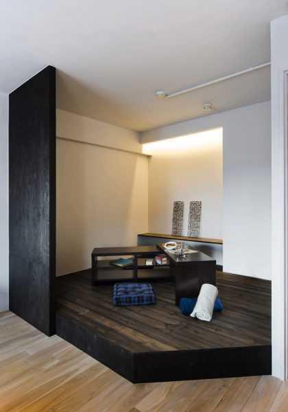 素材で仕切るやわらかな空間。